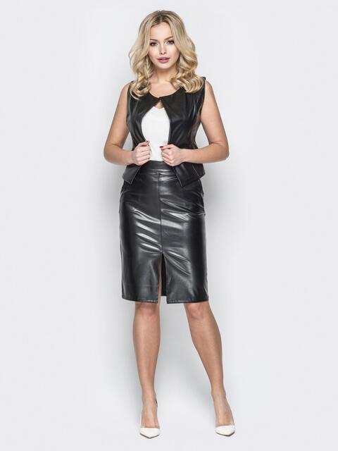 Кожаный комплект из жилетки на кнопках и юбки чёрный - 19613, фото 1 – интернет-магазин Dressa