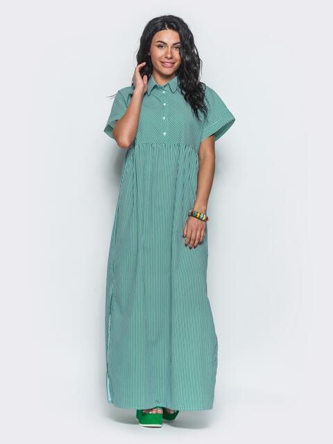 Платье-рубашка в стиле oversize в тонкую полоску зеленое - 12554, фото 2 – интернет-магазин Dressa