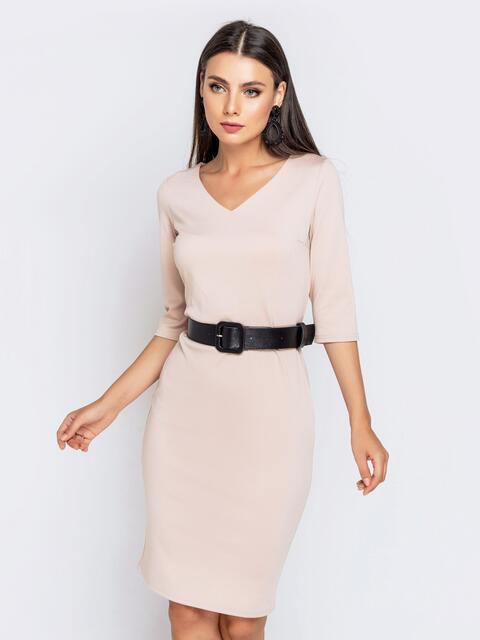 Пудровое платье-миди с рукавом 3/4 и V-вырезом - 40213, фото 1 – интернет-магазин Dressa