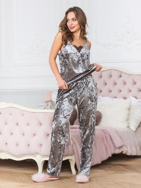 Велюровая пижама серого цвета с брюками - 18973, фото 1 – интернет-магазин Dressa