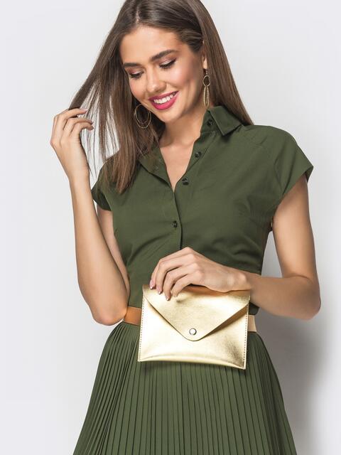 Золотистая сумка-кошелек на пояс из эко-кожи - 39331, фото 1 – интернет-магазин Dressa