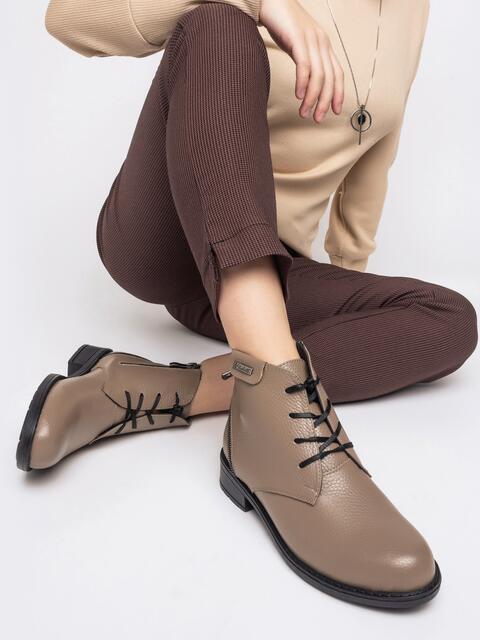 Бежевые ботинки из натуральной кожи на молнии - 41614, фото 1 – интернет-магазин Dressa