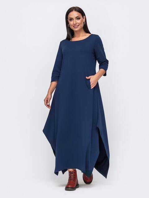 Длинное платье батал с разрезами по бокам синее 51344, фото 1