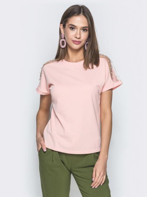 Пудровая футболка с фатиновыми вставками на рукавах - 37932, фото 1 – интернет-магазин Dressa