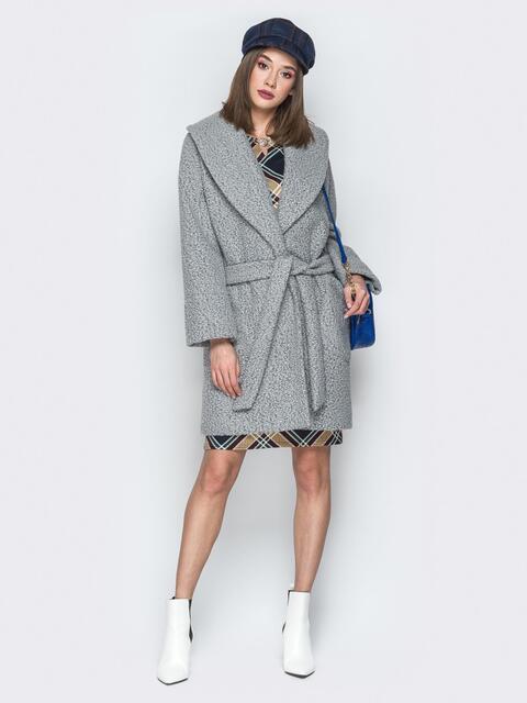 Серое пальто на запах с накладными карманами - 19407, фото 1 – интернет-магазин Dressa