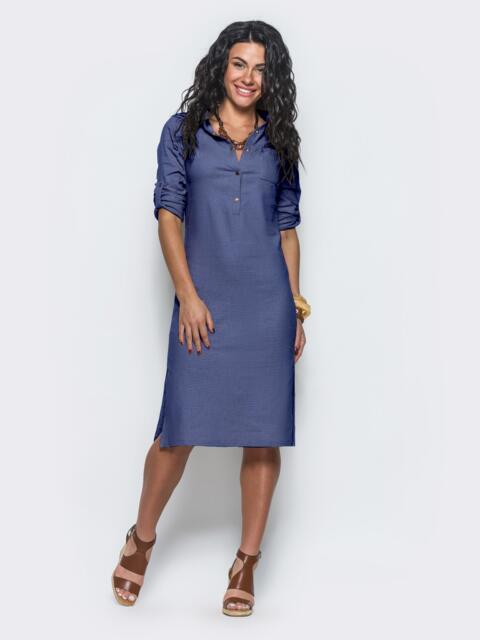 Синее льняное платье со шлёвками на рукавах - 10737, фото 1 – интернет-магазин Dressa