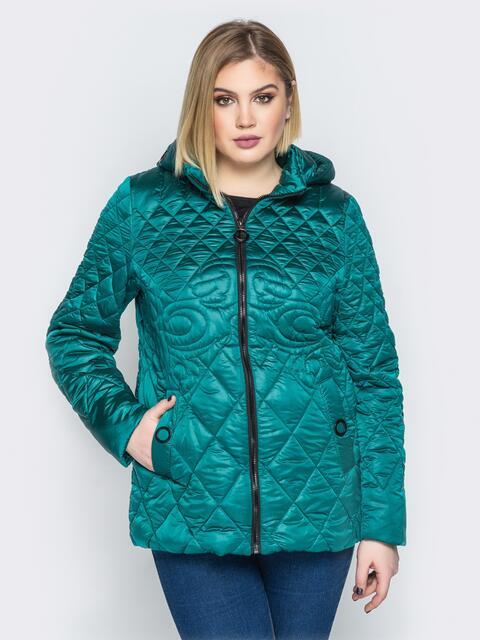 Стеганая куртка с капюшоном и карманами на магнитах зелёная 20319, фото 1