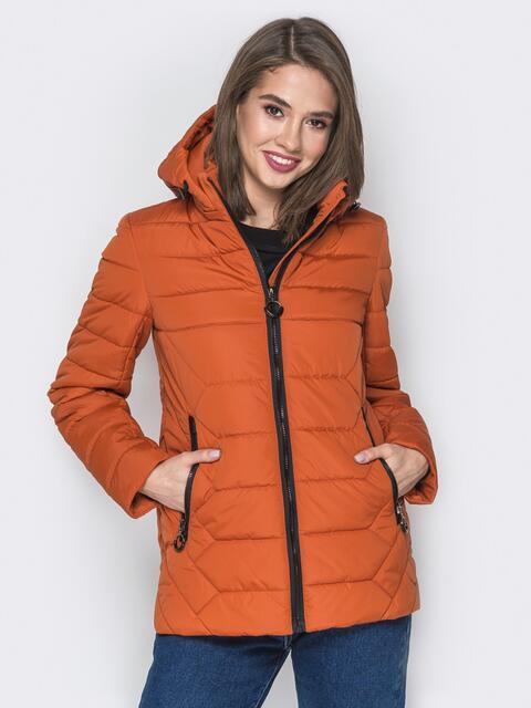 Терракотовая куртка со съёмным капюшоном и карманами на молнии - 20297, фото 1 – интернет-магазин Dressa