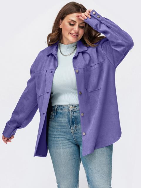 Замшевая рубашка батал фиолетового цвета 55509, фото 1