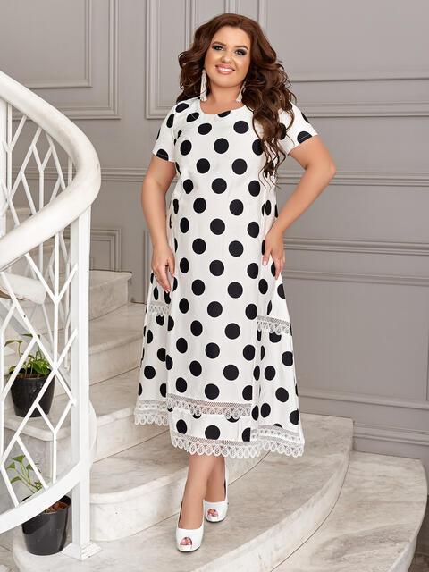 Белое платье батал в черный горох 49192, фото 1