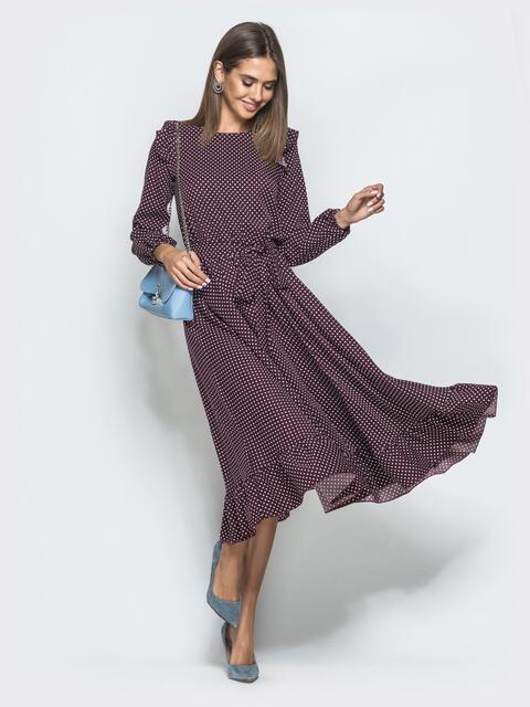 Бордовое платье в горох с рюшами и расклешенной юбкой - 40029, фото 1 – интернет-магазин Dressa
