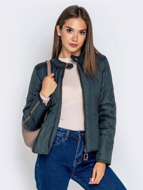 Демисезонная куртка с воротником на кнопке тёмно-серая 40223, фото 1