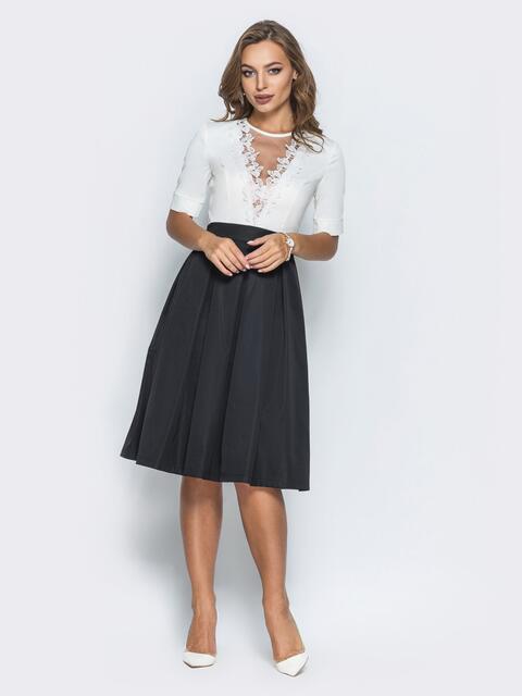 Платье с фатином и кружевом на полочке черное - 14639, фото 2 – интернет-магазин Dressa