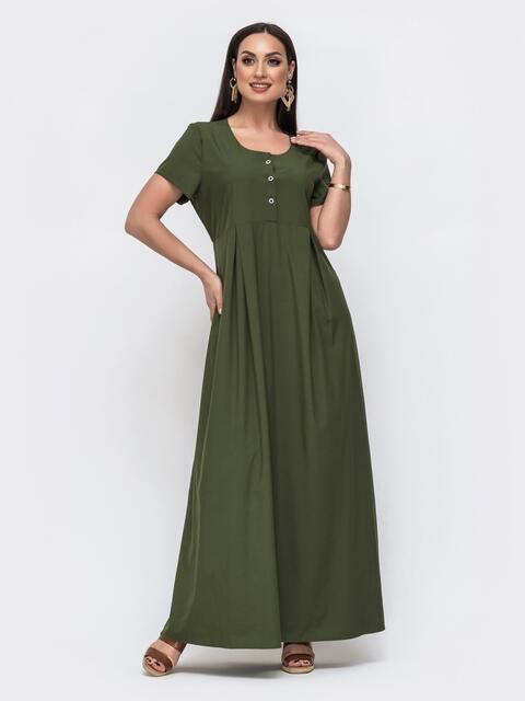 Приталенное платье-макси большого размера хаки 46029, фото 1
