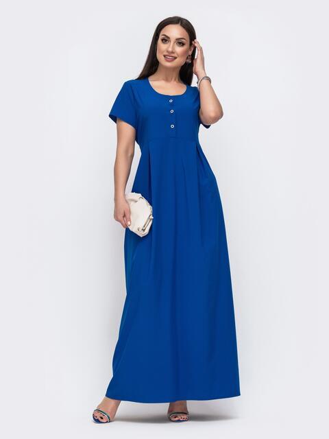 Приталенное платье-макси большого размера синее 46027, фото 1