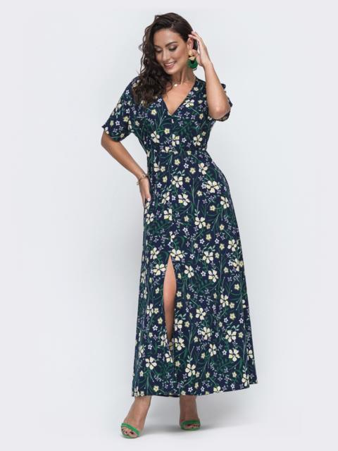 Темно-синее платье большого размера с высоким разрезом  49947, фото 1