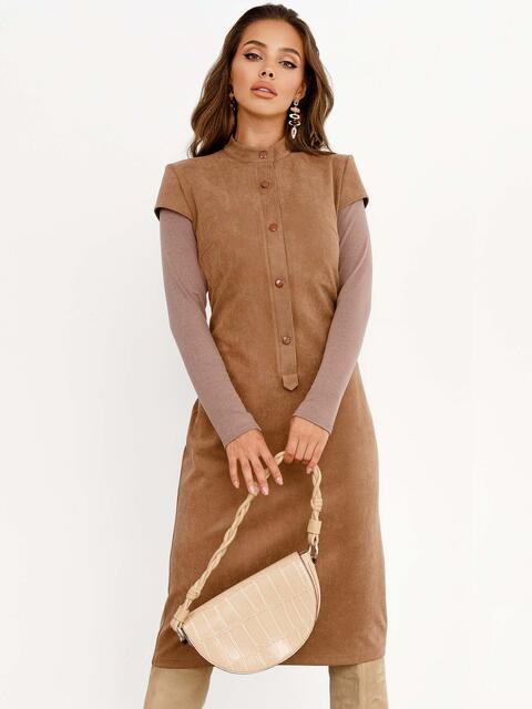 Замшевое платье приталенного кроя с рукавами из вискозы коричневое 52366, фото 1