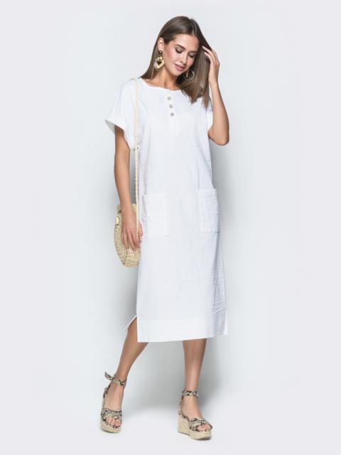 Белое платье из льна с накладными карманами 38888, фото 1