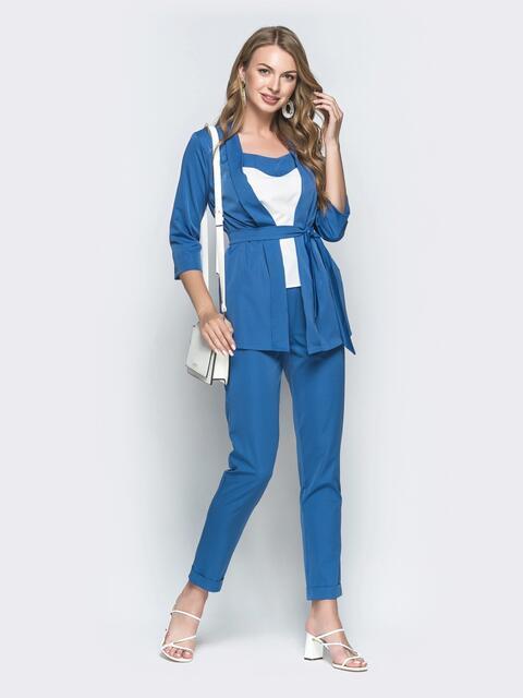 Брючный комплект-тройка с жакетом синий - 39360, фото 1 – интернет-магазин Dressa