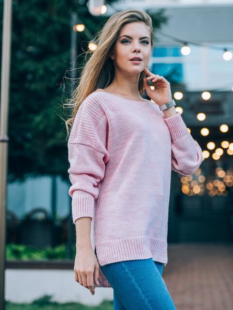 Джемпер с удлиненной спинкой и спущенным плечом нежно-розовый - 13112, фото 1 – интернет-магазин Dressa