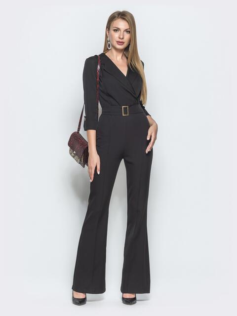 Комбинезон чёрного цвета с брюками-клёш - 39973, фото 1 – интернет-магазин Dressa