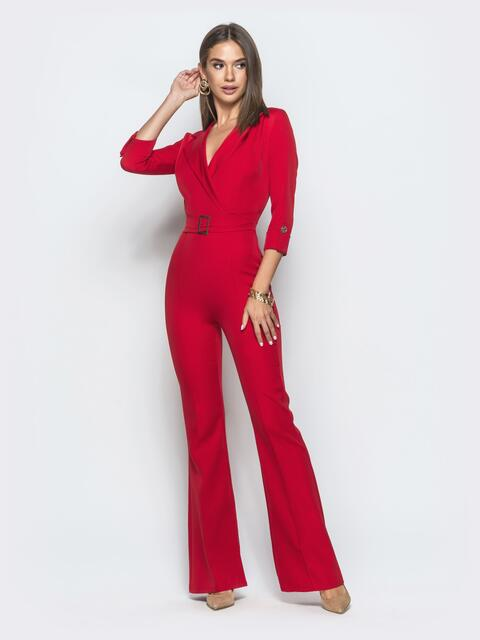 Комбинезон красного цвета с брюками-клёш - 39974, фото 1 – интернет-магазин Dressa