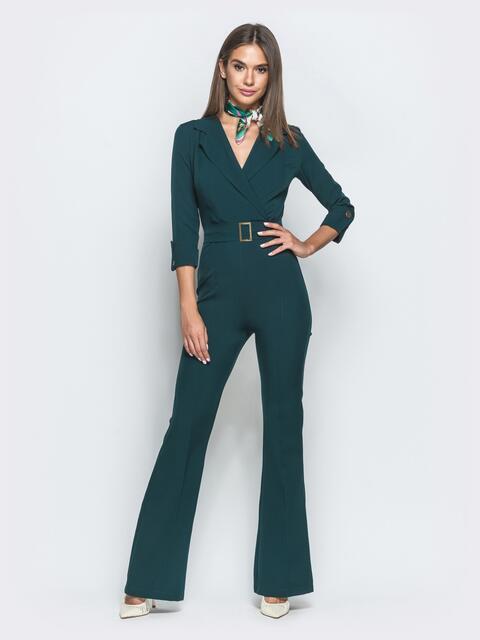 Комбинезон зеленого цвета с брюками-клёш - 39975, фото 1 – интернет-магазин Dressa