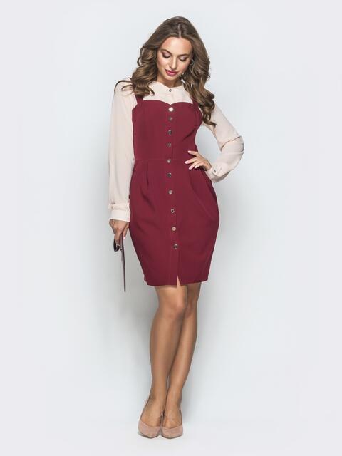 Приталенный сарафан бордового цвета на пуговицах - 40045, фото 1 – интернет-магазин Dressa