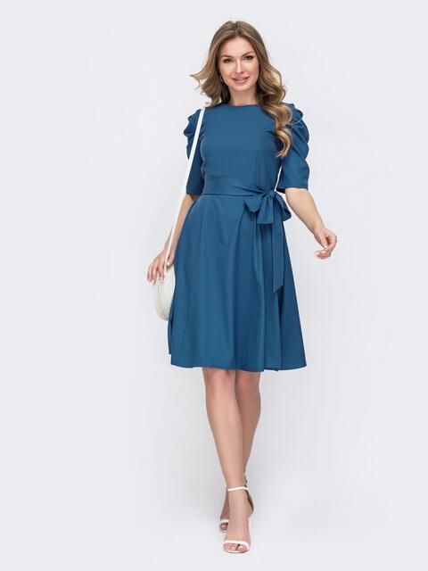 Расклешенное платье с буфами на рукавах синее 46799, фото 1