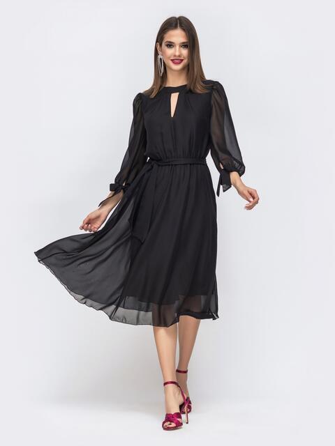 """Шифоновое платье-миди с вырезом """"капля"""" чёрное - 43037, фото 1 – интернет-магазин Dressa"""