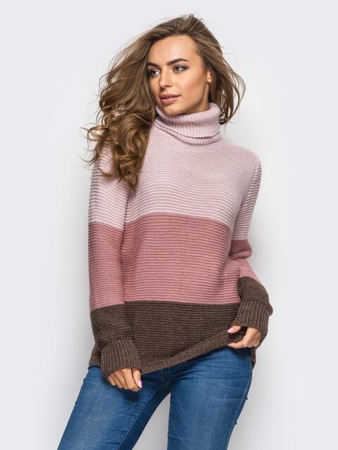 Трехцветный свитер с высоким воротником розовый - 25028, фото 1 – интернет-магазин Dressa