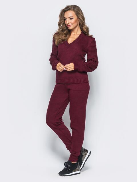 Бордовый комплект с накладными карманами на брюках - 16089, фото 2 – интернет-магазин Dressa