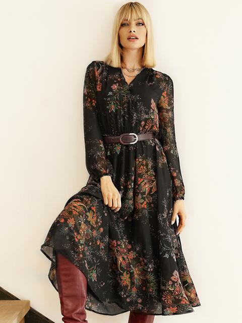 Черное платье с принтом и юбкой-полусолнце 53103, фото 1