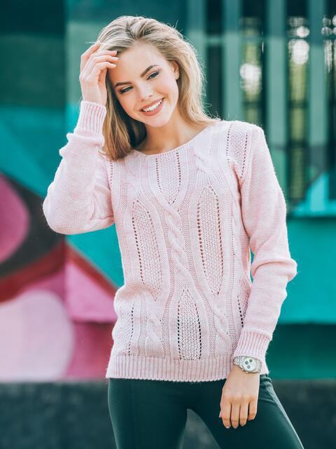 Джемпер с манжетами и низом на резинке нежно-розовый - 13097, фото 1 – интернет-магазин Dressa