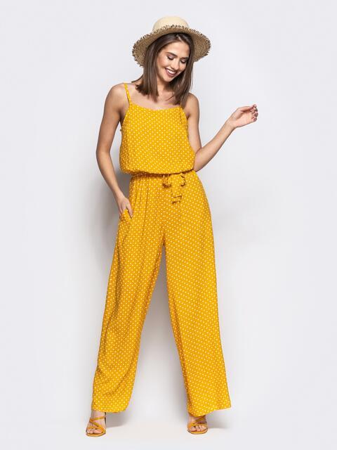 Комбинезон в горох с брюками-палаццо желтый - 21604, фото 1 – интернет-магазин Dressa