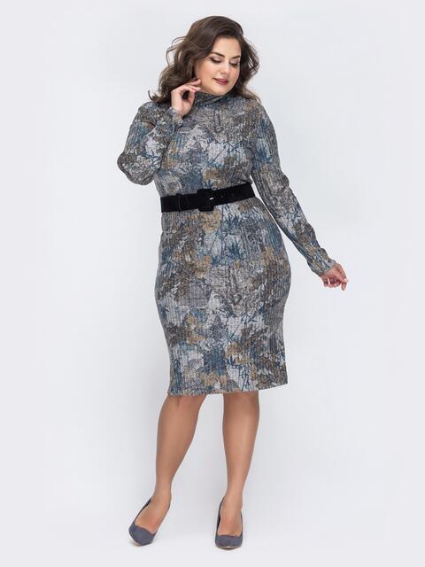 Платье батал с нитью люрекса и принтом коричневое - 43852, фото 1 – интернет-магазин Dressa