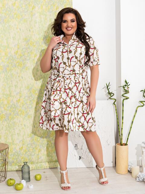 Приталенное платье батал с принтом белое - 47631, фото 1 – интернет-магазин Dressa