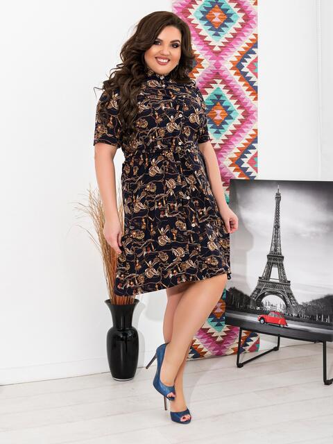 Приталенное платье батал с принтом чёрное - 47632, фото 1 – интернет-магазин Dressa