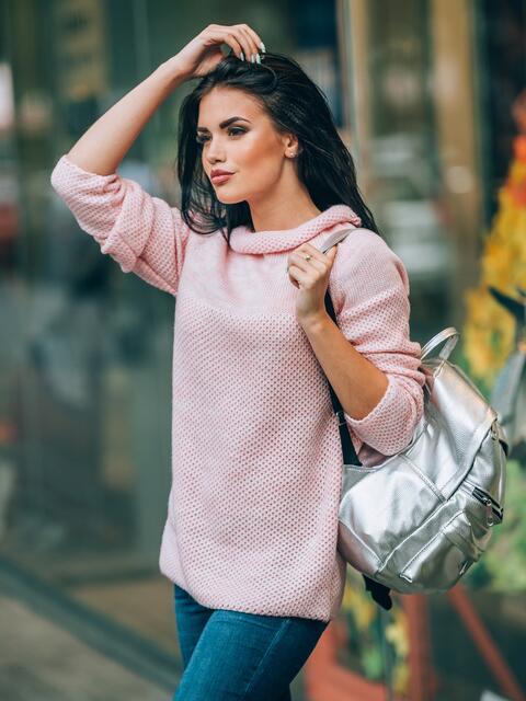 Свитер с широким воротом и рукавом реглан розовый - 12999, фото 2 – интернет-магазин Dressa