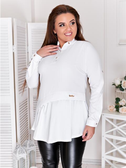 Туника большого размера с баской белая - 47418, фото 1 – интернет-магазин Dressa