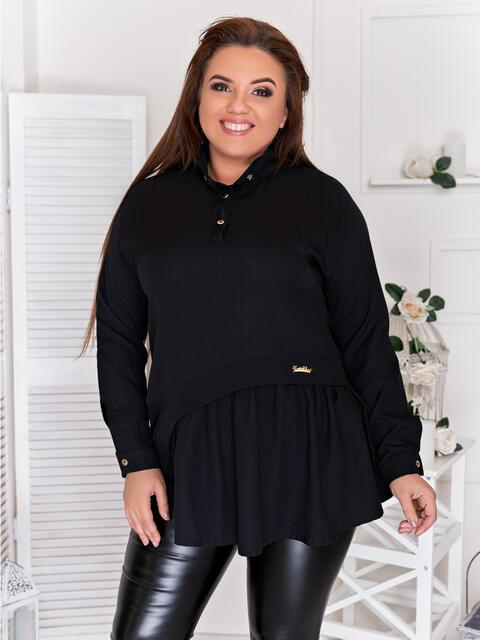 Туника большого размера с баской чёрная - 47422, фото 1 – интернет-магазин Dressa