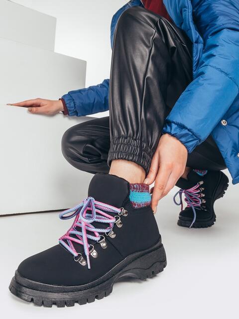 Зимние ботинки чёрного цвета с вязаной вставкой 51761, фото 1