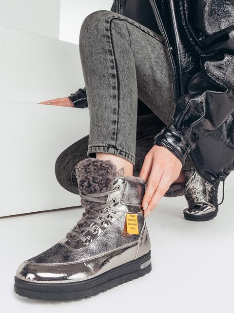 Зимние ботинки с лакированными вставками серые 51760, фото 1