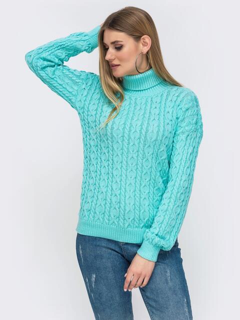 Бирюзовый свитер с ажурной вязки и высоким воротником 42723, фото 1
