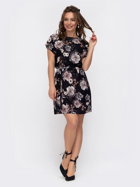 Черное платье-мини с цветочным принтом 46920, фото 1