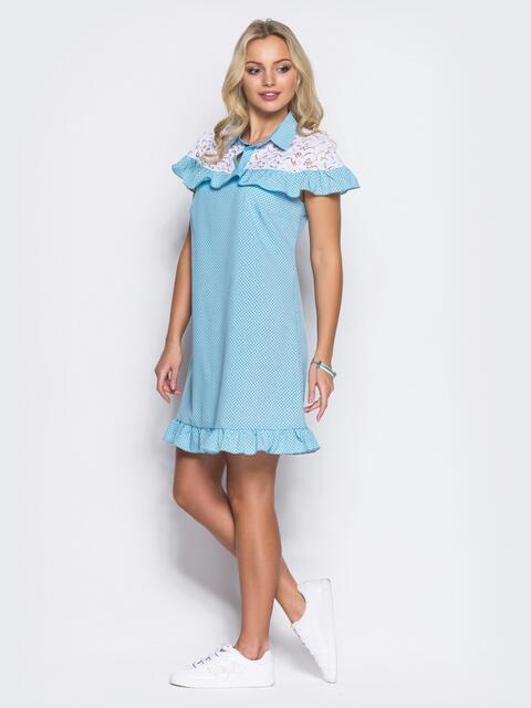 Голубое платье с оборкой и вставкой из гипюра - 11601, фото 1 – интернет-магазин Dressa