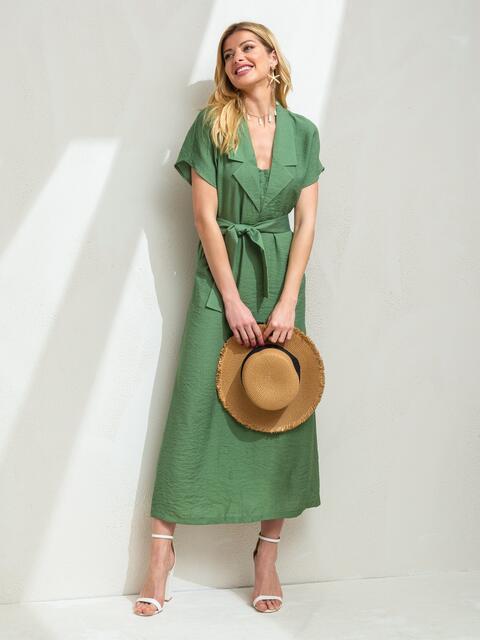 Льняное платье-макси с лацканами зеленое - 46870, фото 1 – интернет-магазин Dressa