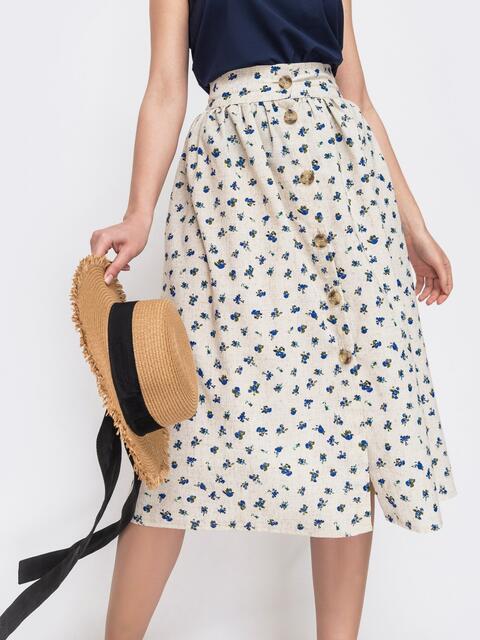 Расклешенная юбка-миди с принтом на пуговицах бежевая - 47272, фото 1 – интернет-магазин Dressa
