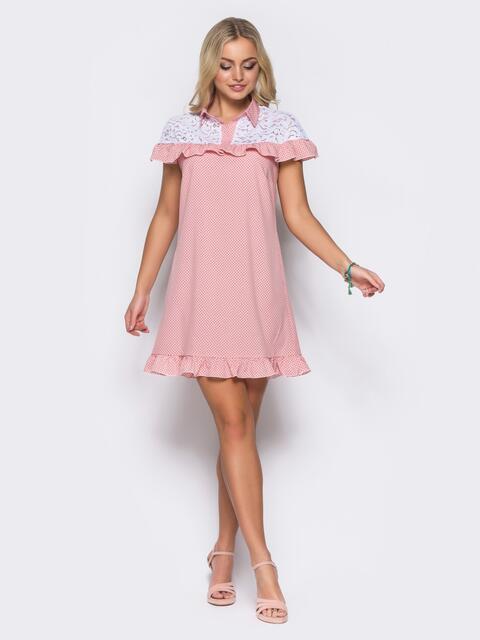 Розовое платье с оборкой и вставкой из гипюра - 11602, фото 1 – интернет-магазин Dressa