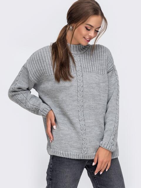 Серый свитер со спущенной линией плечевого шва 50209, фото 1